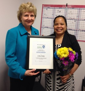 Fort Bend AAUW Scholarship Chair, Judy Cenkus presenting to Lerma Parker, 2014 recipient