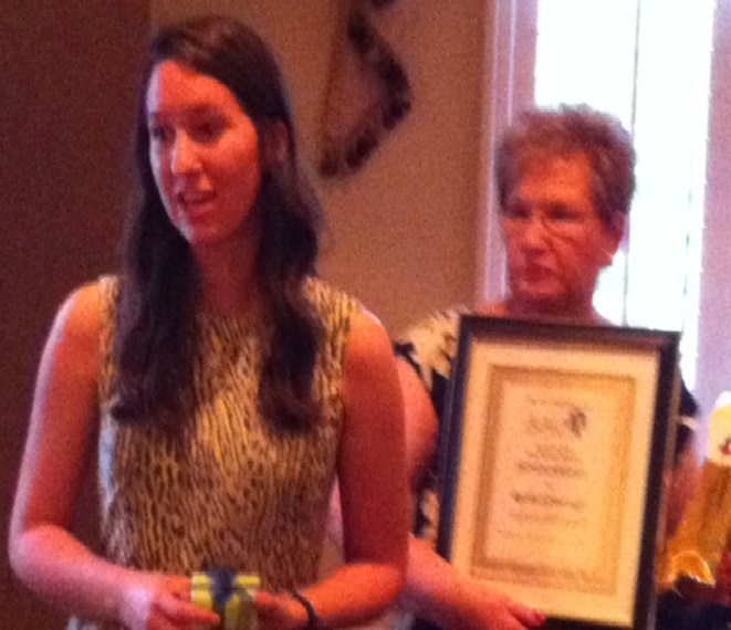 AAUW Texas District Rep Brenda Moss presenting Rachel Grinestaff with the 2016 Mary Frierson Scholarship